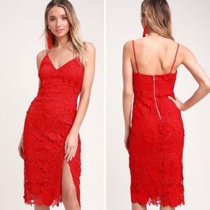 Lulus Steal Your Heart Red Crochet Lace Midi Dress